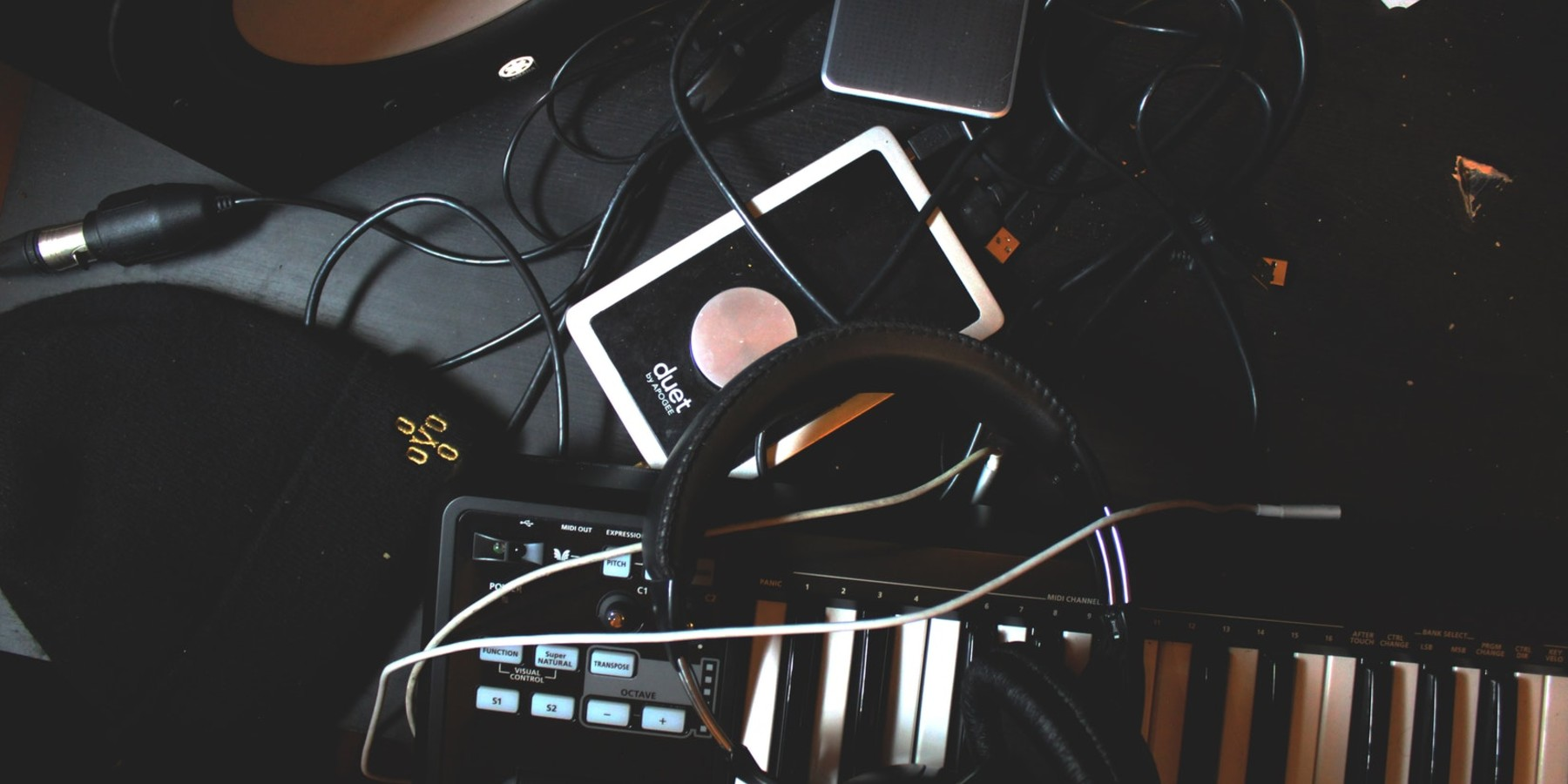 Various musical objects on a desk